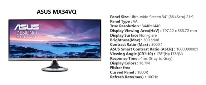 ASUS MX34VQ specifications