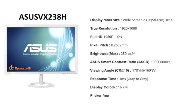 ASUS-VX238-H-Specifications