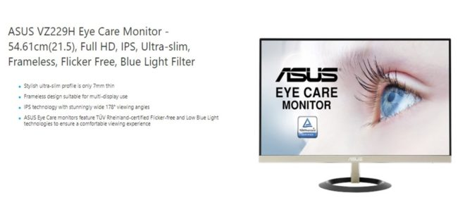 ASUS VZ229H specifications