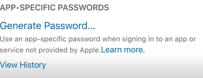 iCloud App specified password for iCloud Email